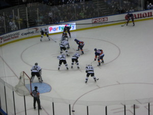 The Islanders face off against the Los Angeles Kings at Nassau Coliseum on March 26.